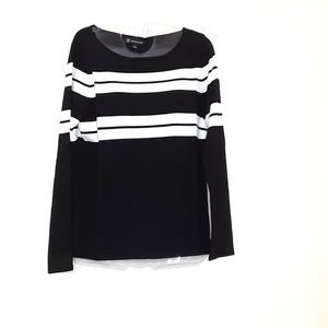 INC Black and White Long Sleeve Top-L